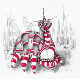 Drawing of alien character. Drawing of alien bug. Figure marker and pen on paper. See the whole series in my portfolio Stock Image