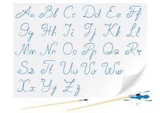 Drawing alphabet. Hand-written font for creation congratulatory inscriptions Royalty Free Stock Photo