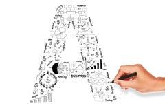Drawing alphabet business plan concept. Hand drawing alphabet business plan concept on whiteboard Stock Photos