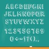 Drawing alphabet lettering on chalk blackboard. Vector. Illustration stock illustration