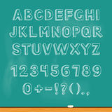 Drawing alphabet lettering on chalk blackboard. Vector. Illustration vector illustration