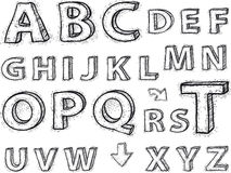Drawing the alphabet. letters are not background. Royalty Free Stock Photo