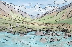 Drawing of Alpine valley mountain stream vector and stones, hyper real photo painting vector effect. Drawing of Alpine valley mountain stream and stones, hyper Stock Image