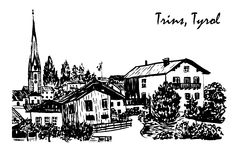 Drawing Alpine village in Trins sketch  illustration Stock Images