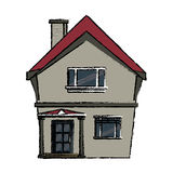 Drawing american house domestic chimney Royalty Free Stock Photo