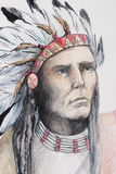 Drawing of american indian with feathers Stock Photo