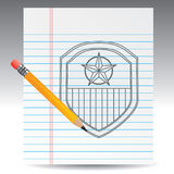 Drawing of american patriotic shield Stock Photography