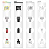 Drawing, ancient column, multi-storey building, architect with a sketch. Architecture set collection icons in cartoon Stock Photo