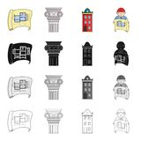 Drawing, ancient column, multi-storey building, architect with a sketch. Architecture set collection icons in cartoon Stock Image