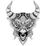 Drawing angry bull for coloring book for adult,tattoo,T- shirt design and other decorations Stock Photo