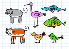 Drawing of animals Stock Photos