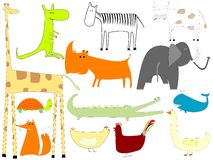 Drawing of animals isolated on white background Stock Photos
