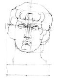 Drawing Antinous sculpture head. Plaster antique head of Antinous. Pencil drawing Stock Photography