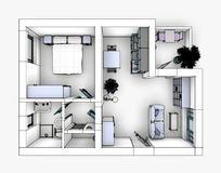 Drawing apartment Stock Photography