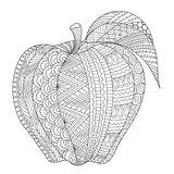Drawing apple for adult coloring book, coloring page,engraving, tattoo, t shirt design and so on. Vector illustration. Abstract line art of apple for adult royalty free illustration