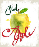 Drawing apple. lettering Stock Photography