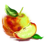 Drawing apple with a slice Royalty Free Stock Photos