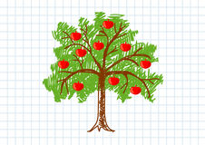 Drawing of apple-tree Stock Photos