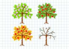 Drawing of apple-trees Stock Image