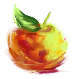 Drawing apple. Vector isolated apple - drawn by oil paints Royalty Free Stock Photography