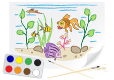 Drawing aquarium Stock Photos