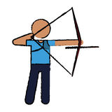 Drawing archery player aiming bow game. Vector illustration eps 10 Stock Photos