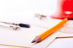 The drawing of the architect. The drawing and tools of the architect Royalty Free Stock Photo