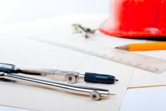 The drawing of the architect. The drawing and tools of the architect Stock Image