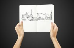 Drawing architectural monuments Stock Photo