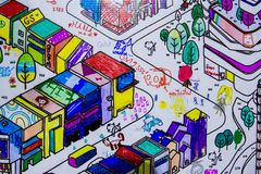 Drawing area for amateur painters. Urban and colorful paintings royalty free stock image