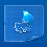 Drawing arrow blueprint Royalty Free Stock Photos