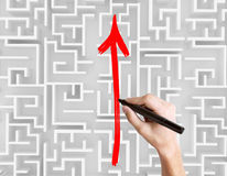Drawing arrow on maze top Stock Photography