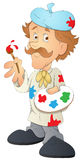Artist - Cartoon Character - Vector Illustration Royalty Free Stock Photo