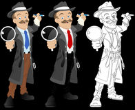 Detective - Cartoon Character - Vector Illustration Stock Photos