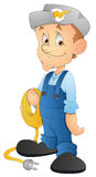Electrician - Cartoon Character - Vector Illustration Stock Photo