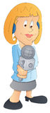 TV Reporter - Cartoon Character - Vector Illustration Stock Photo