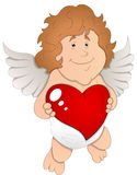 Adorable Cupid with Heart - Vector Illustration Royalty Free Stock Photos