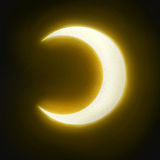 Drawing art half moon with naturalistic yellow light Royalty Free Stock Photography