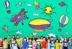 Drawing Artistic Childhood Kids Playful Concept stock photos