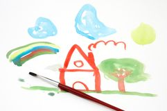 Drawing as a child Stock Images