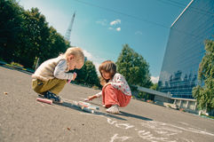 Drawing on the asphalt Royalty Free Stock Photos
