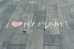 Drawing on asphalt text - I love my planet Stock Photography