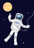 Drawing the astronaut in an outer space Royalty Free Stock Photo