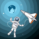 Drawing the astronaut in an outer space. Stock Images