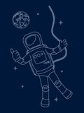 Drawing the astronaut in an outer space. Stock Photography