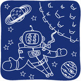 Drawing of an astronaut and planets Stock Photo