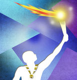Drawing of Athlete holding a torch with Gold medal.  Royalty Free Stock Photography