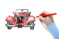 Drawing of the automobile Royalty Free Stock Image