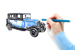 Drawing of the automobile Stock Photo