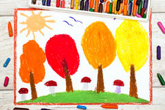 Drawing: Autumn landscape, trees with yellow, orange and red leaves Royalty Free Stock Image